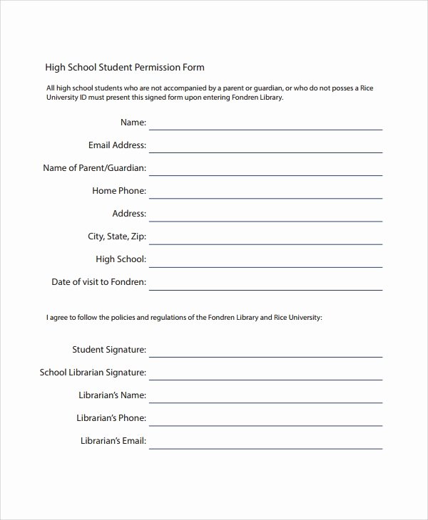 Photo Consent form Template Beautiful Sample Permission form Template 9 Free Documents