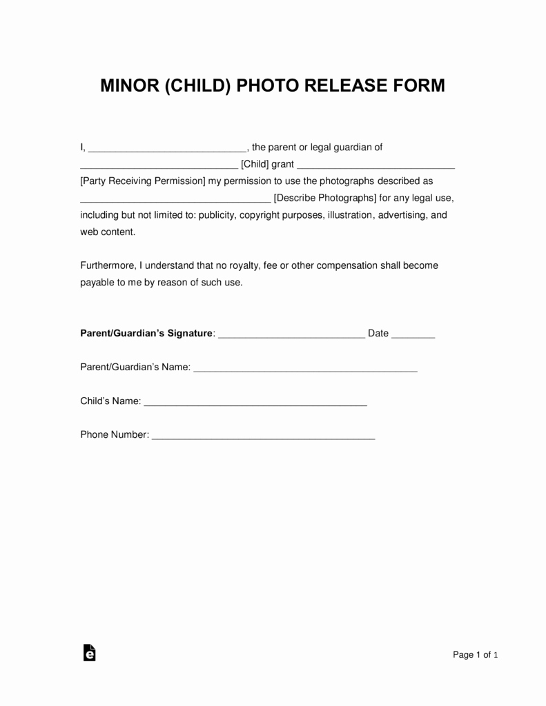 Photo Consent form Template Elegant Free Minor Child Release form Word