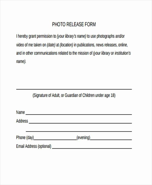 Photo Consent form Template Inspirational Free 38 Release form Templates