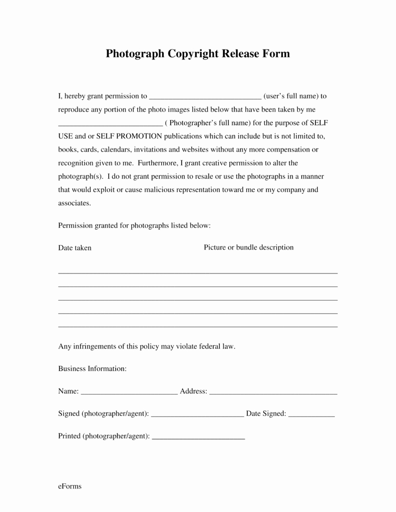 Photo Consent form Template New Free Generic Copyright Release form Pdf