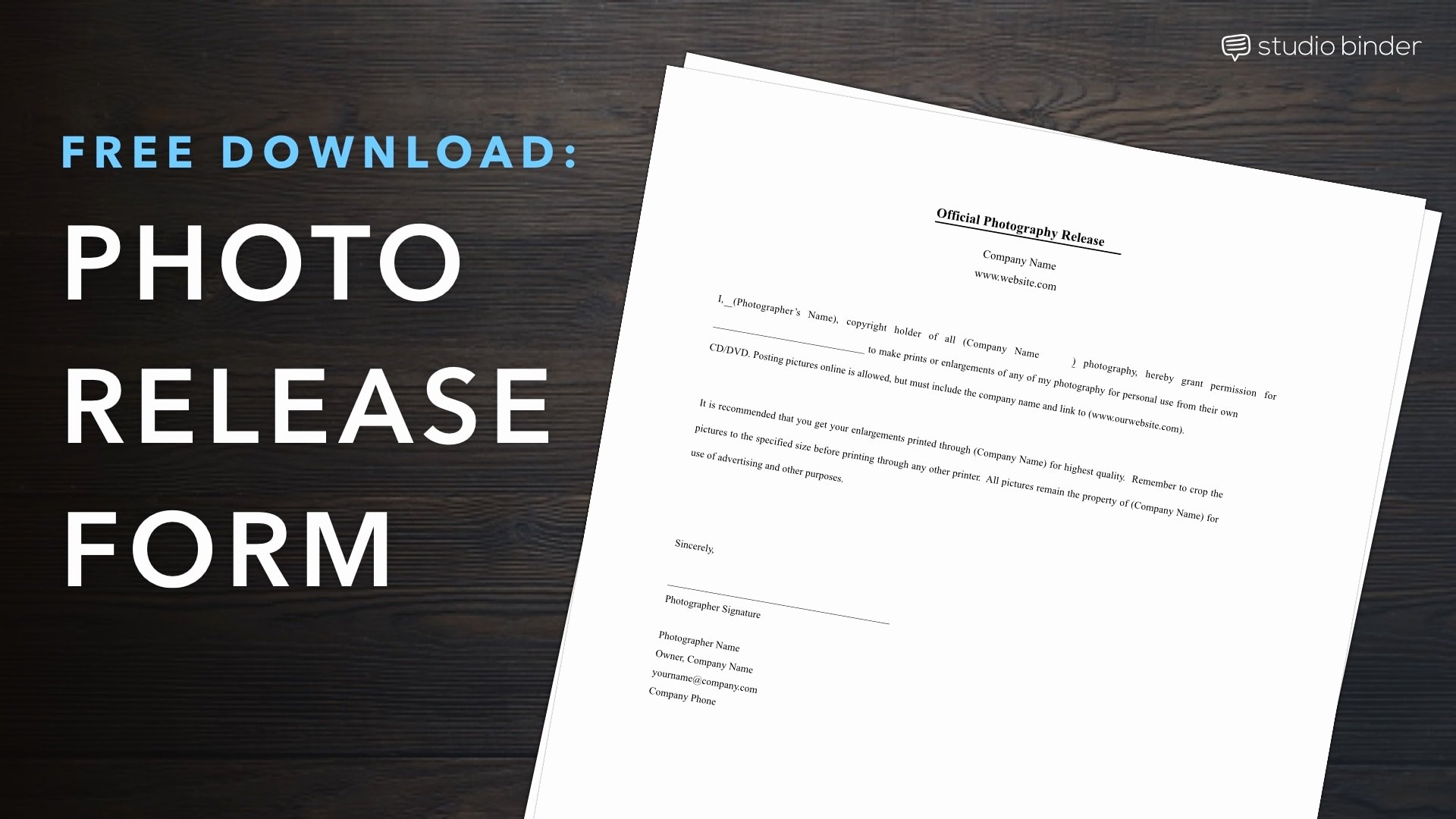 Photo Print Release form Template Awesome Download Free Release form Template