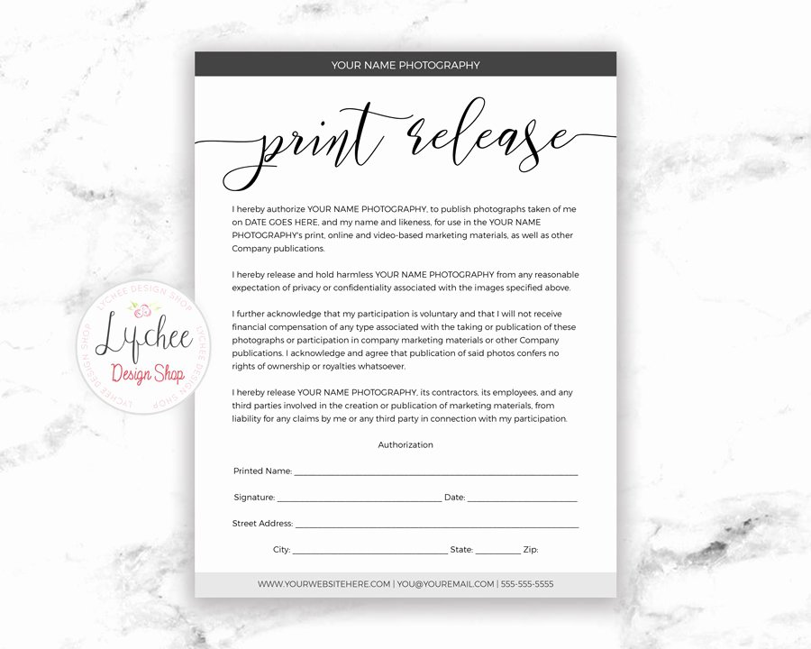 Photo Print Release form Template Beautiful Print Release Template Script Font 8 5x11 Printable