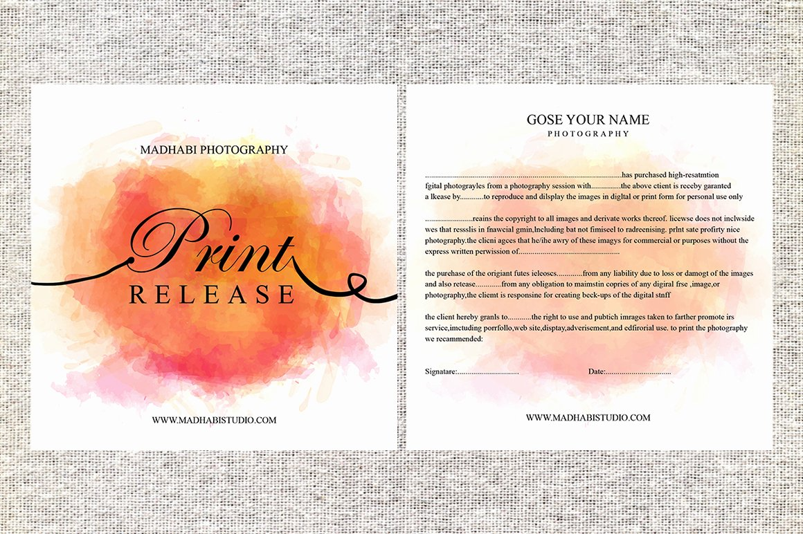 Photo Print Release form Template Elegant Release form Template Deals for Your Studio