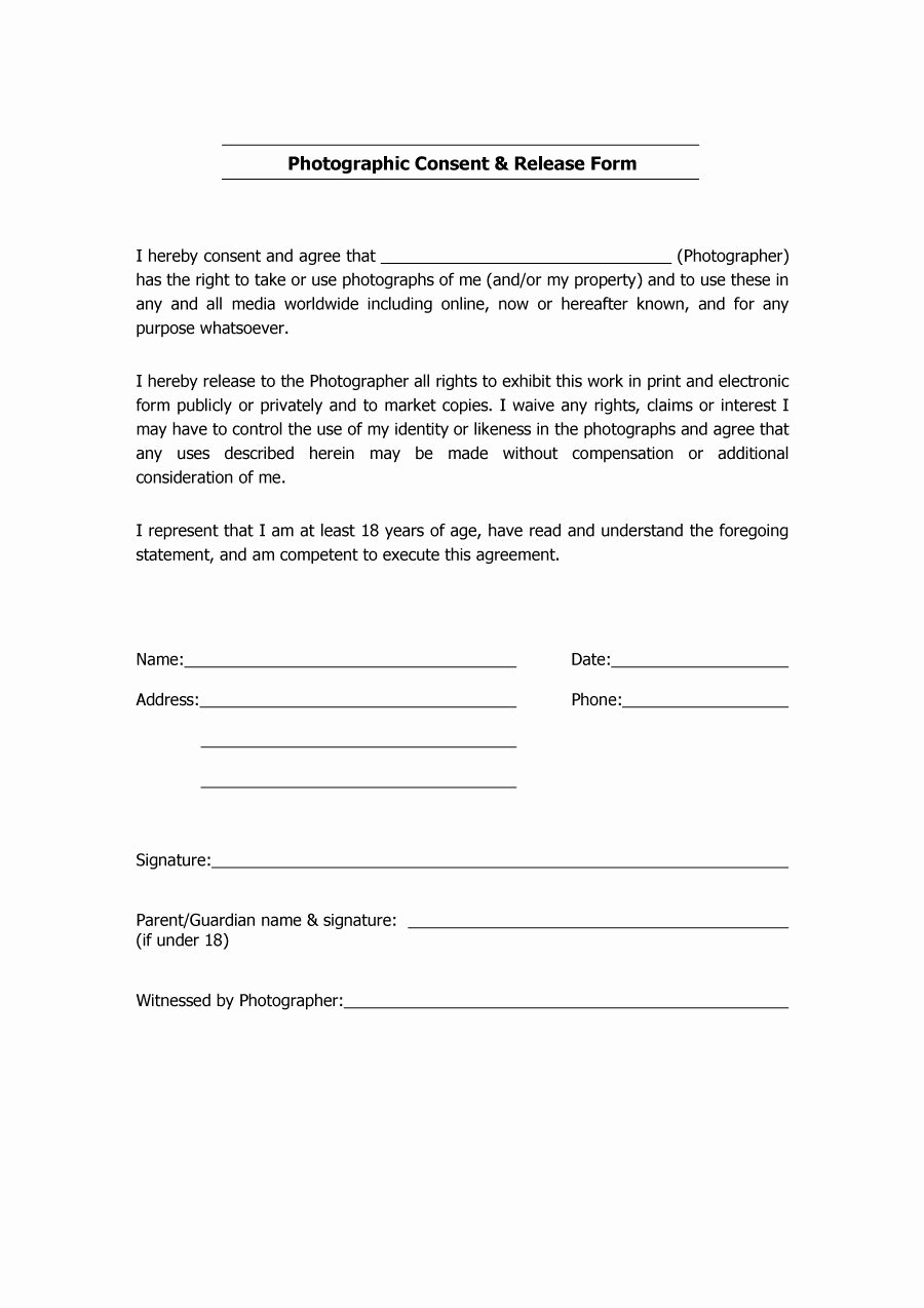 Photo Print Release form Template Fresh 53 Free Release form Templates [word Pdf