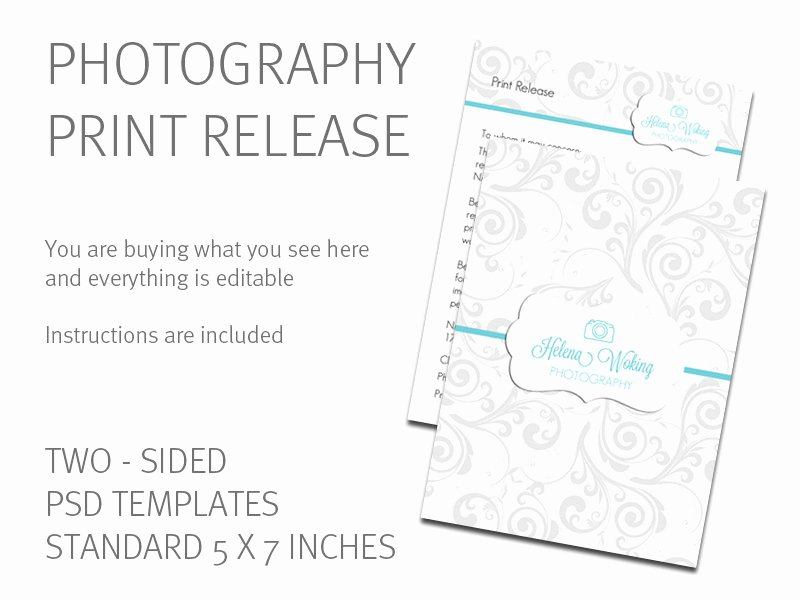 Photo Print Release form Template Fresh Print Release Template Photography Print Release Card