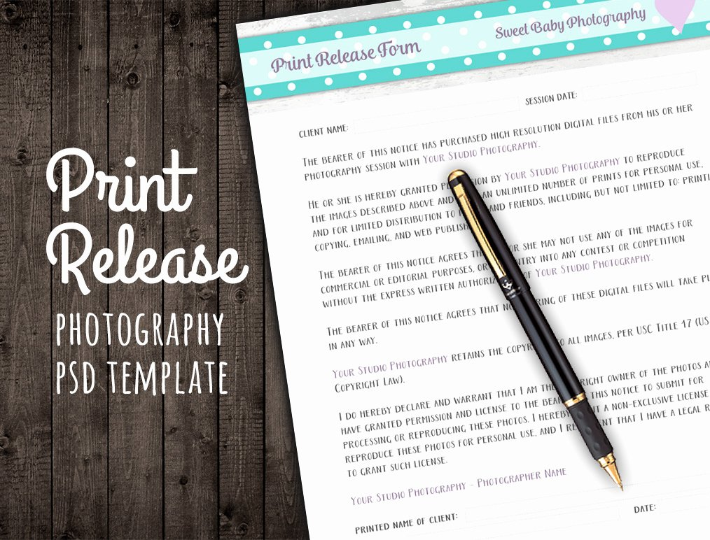 Photo Print Release form Template Fresh Release form Template Deals for Your Studio