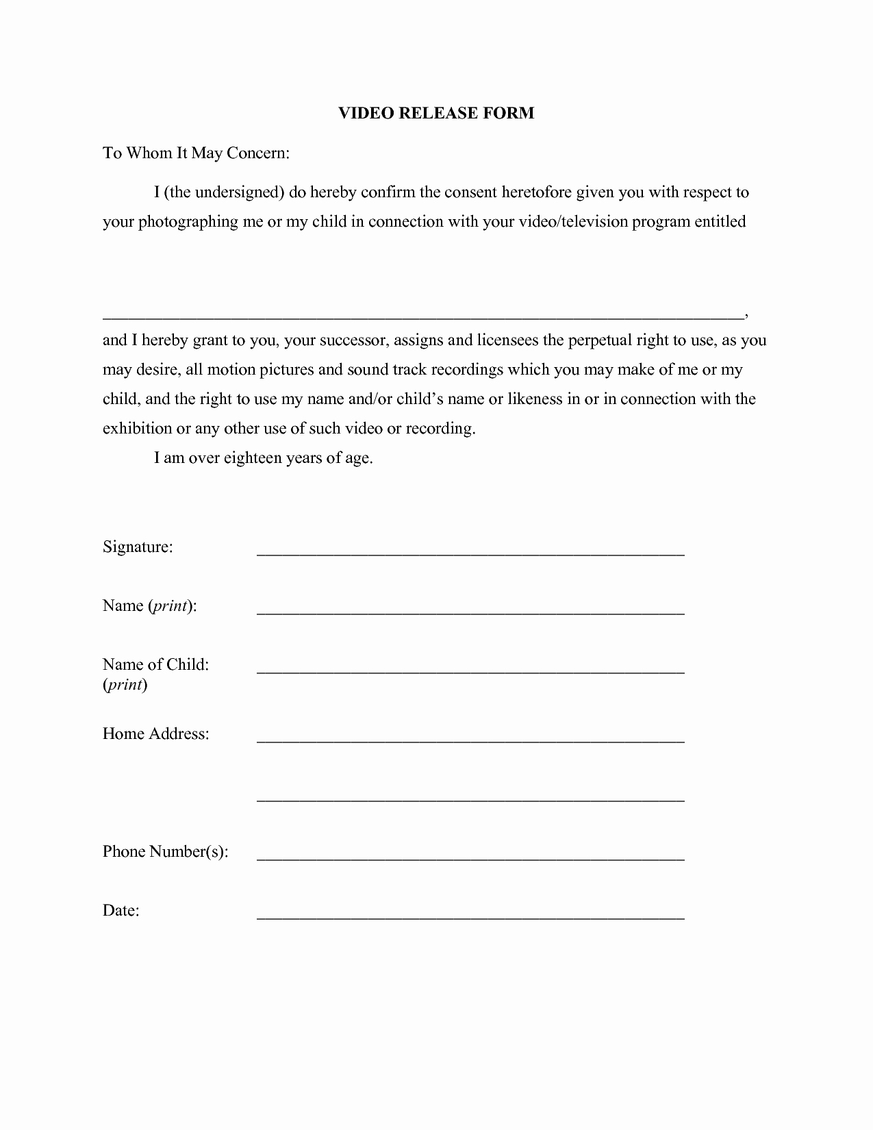 Photo Print Release form Template Lovely Release form Template