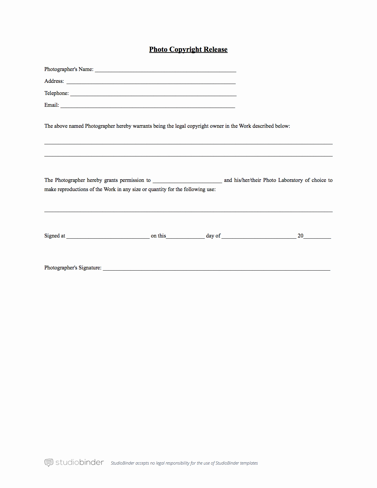 Photo Print Release form Template Lovely why You Should Have A Release form Template