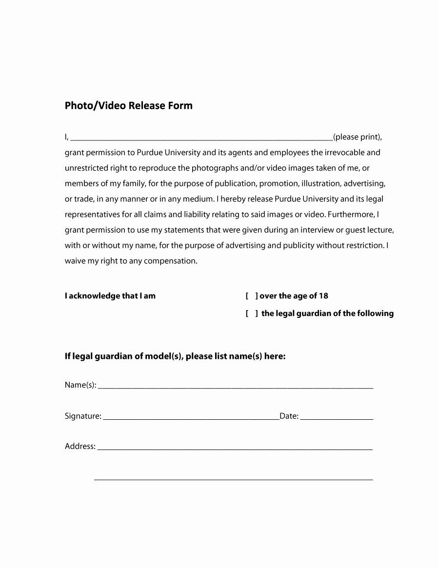 Photo Print Release form Template Unique 53 Free Release form Templates [word Pdf]