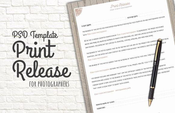 Photo Print Release form Template Unique Print Release form Template by Studio29 On Creative