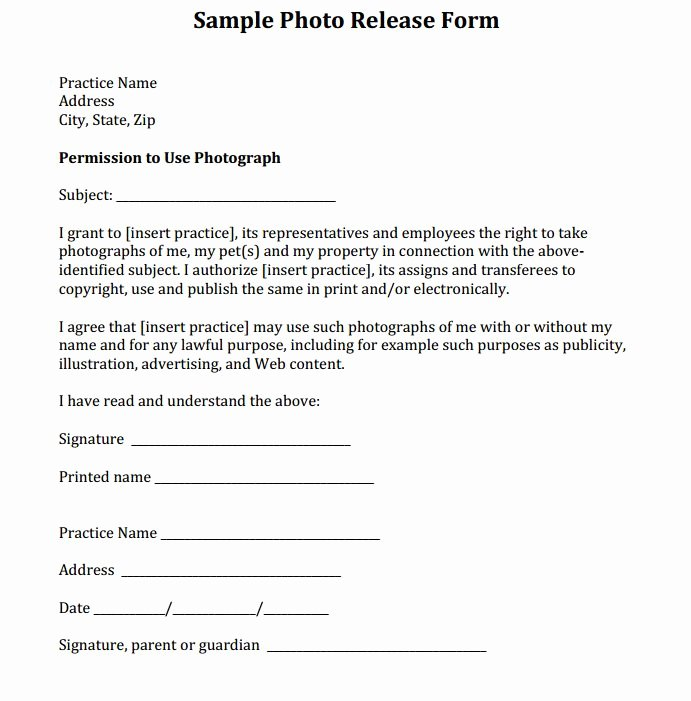 Photo Release form Template Awesome Sample Release form Courtesy Of Dr Eric Garcia and