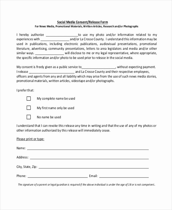 Photo Release form Template Beautiful social Media Release form Template