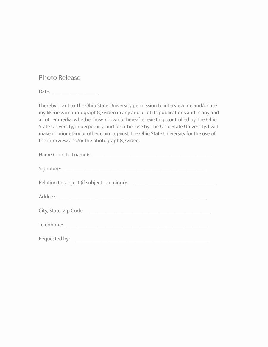 Photo Release form Template Elegant 53 Free Release form Templates [word Pdf]