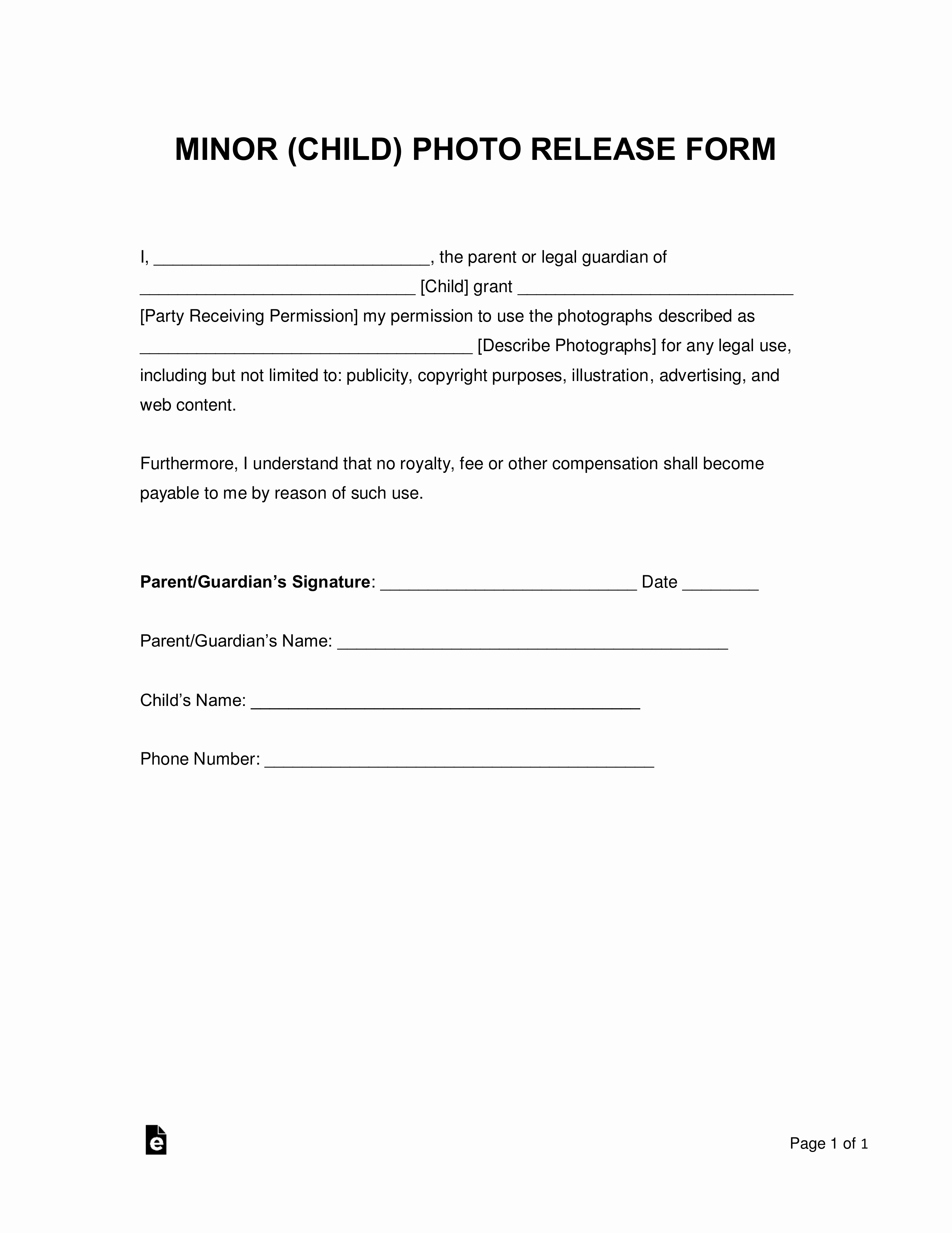 Photo Release form Template Free Awesome Free Minor Child Release form Word