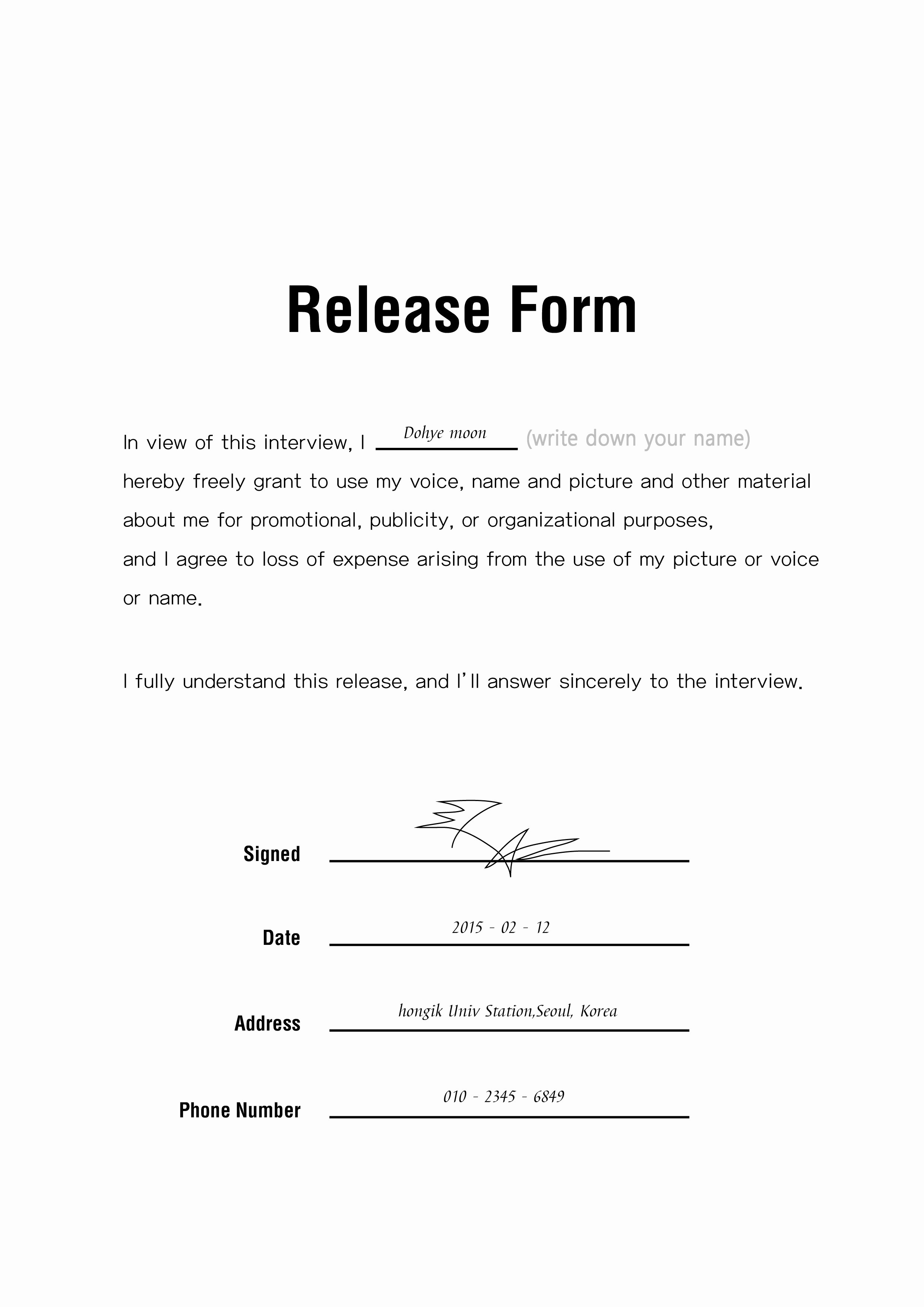 Photo Release form Template Free Awesome Release form
