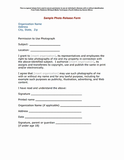 Photo Release form Template Free Inspirational Release Free Download Create Edit Fill and