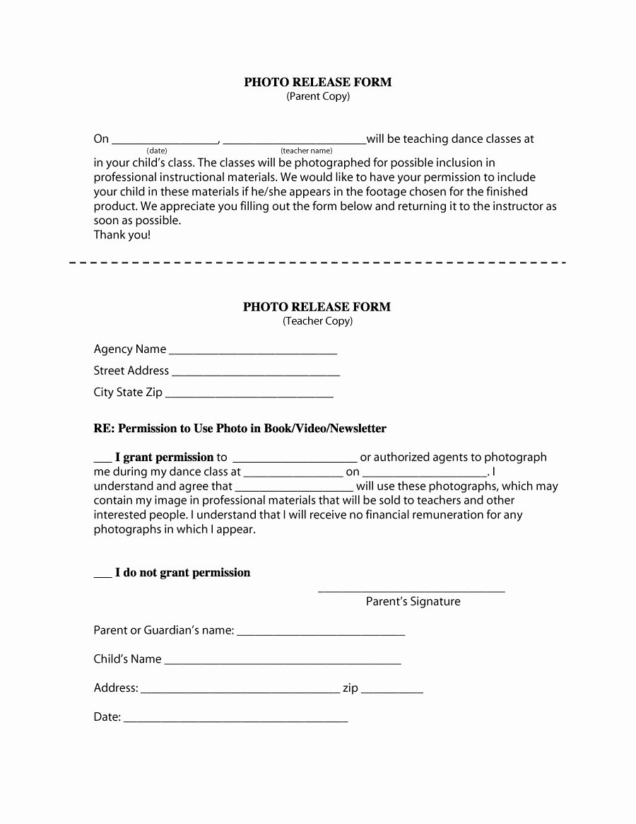 Photo Release form Template Lovely 53 Free Release form Templates [word Pdf]