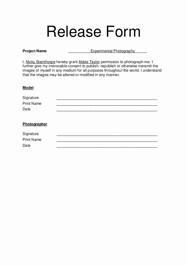 Photo Release form Template Lovely Model Release form