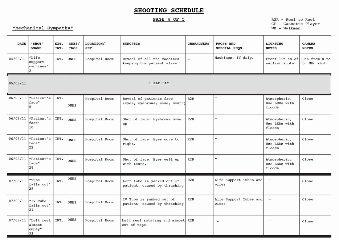 Photo Shoot Schedule Template Beautiful Shooting Schedule Blood Shot Productions