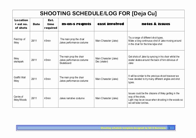 Photo Shoot Schedule Template Inspirational Shooting Schedule Shoot 3