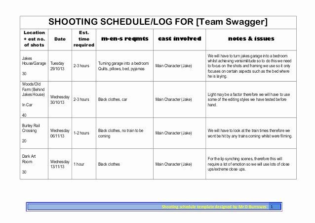 Photo Shoot Schedule Template New Shoot Schedule 1