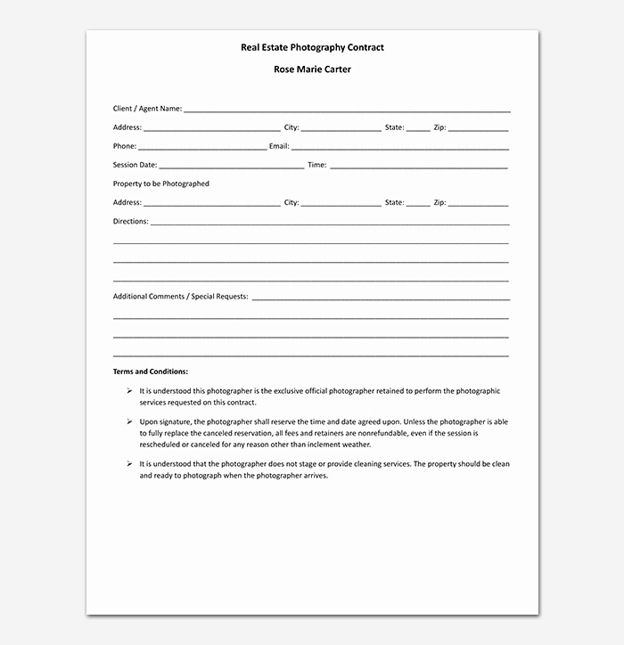 Photography Contract Template Pdf Awesome Graphy Contract Template 40 Free In Word Pdf