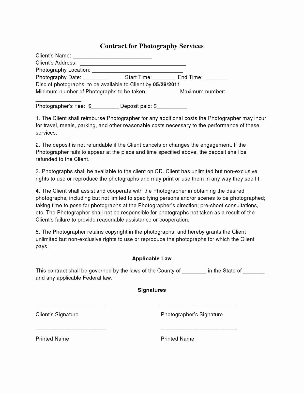 Photography Contract Template Pdf Beautiful Basic Wedding Graphy Contracts