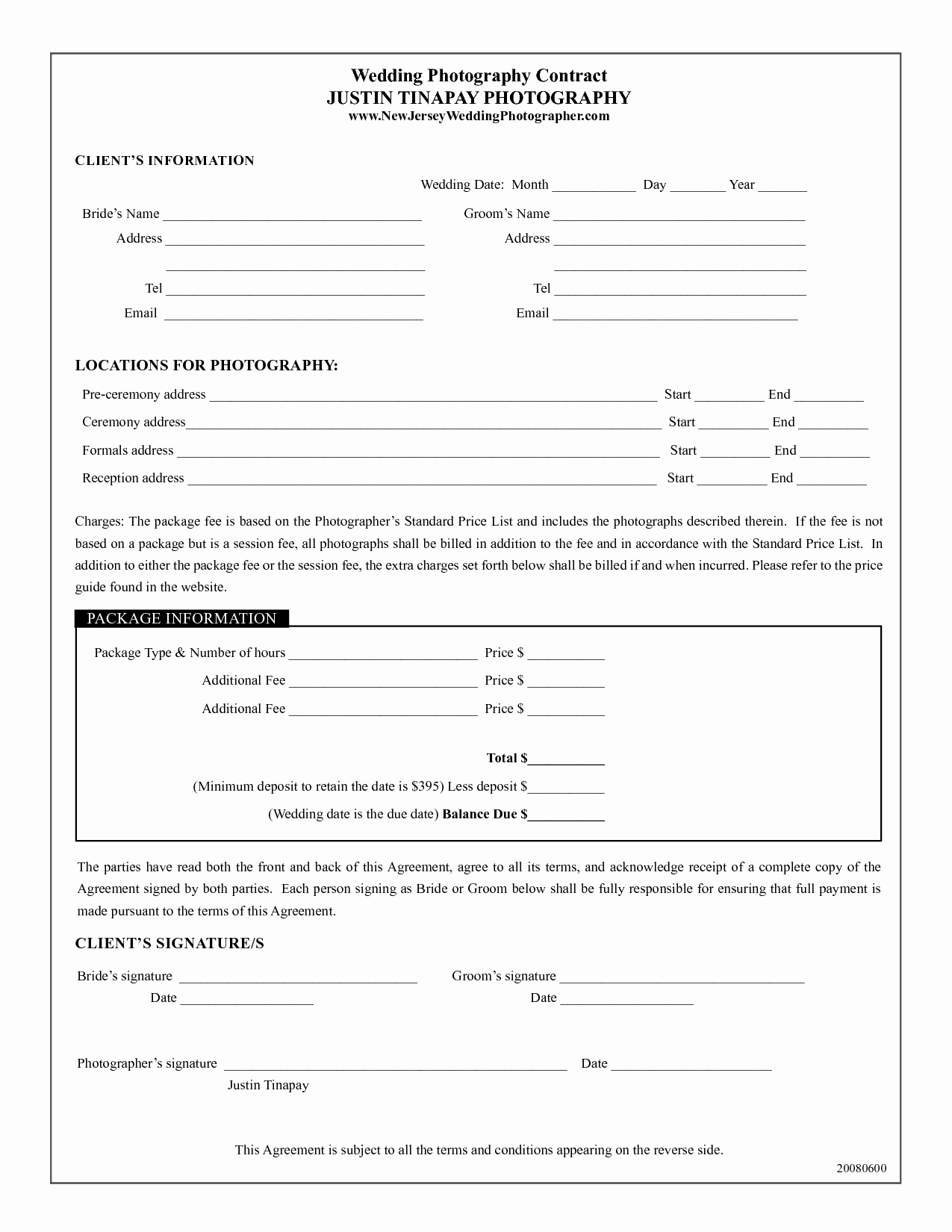 Photography Contract Template Pdf Elegant Photography Contract Template