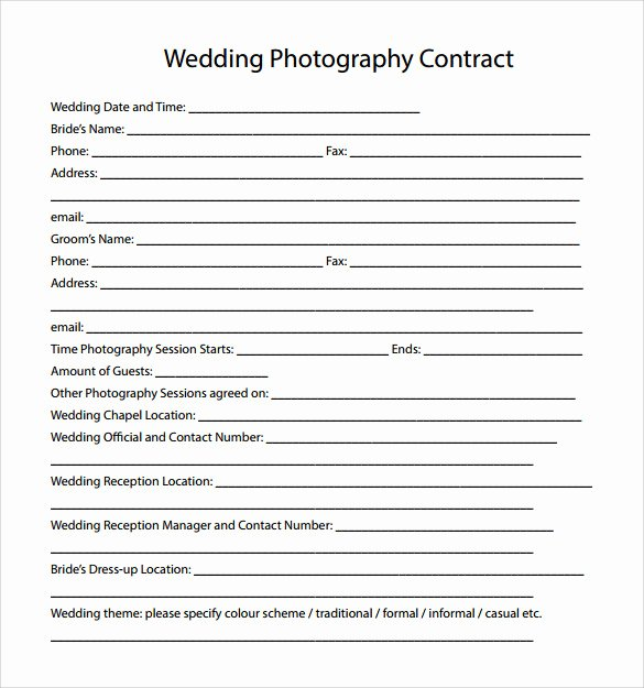 Photography Contract Template Pdf Fresh 14 Wedding Graphy Contract Template 14 Download