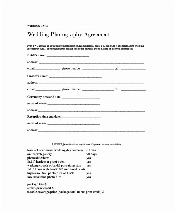 Photography Contract Template Pdf Fresh Graphy Agreement Contract Sample 7 Examples In