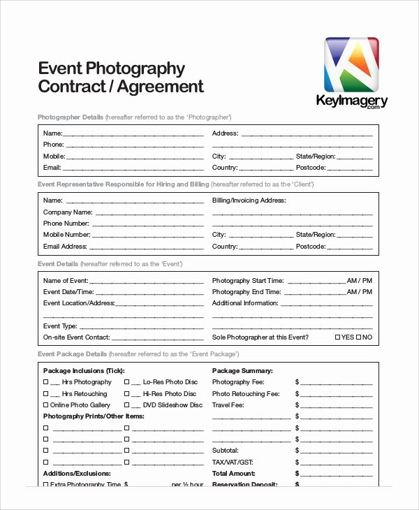 Photography Contract Template Pdf Inspirational Sample event Contract Agreement 10 Examples In Word Pdf