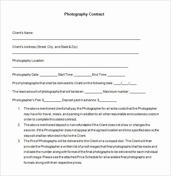 Photography Contract Template Pdf Luxury 7 Mercial Graphy Contract Templates – Free Word