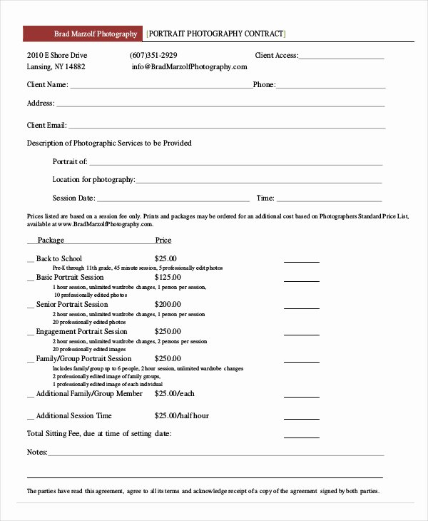 Photography Contract Template Pdf New Portrait Graphy Contract – Emmamcintyrephotography