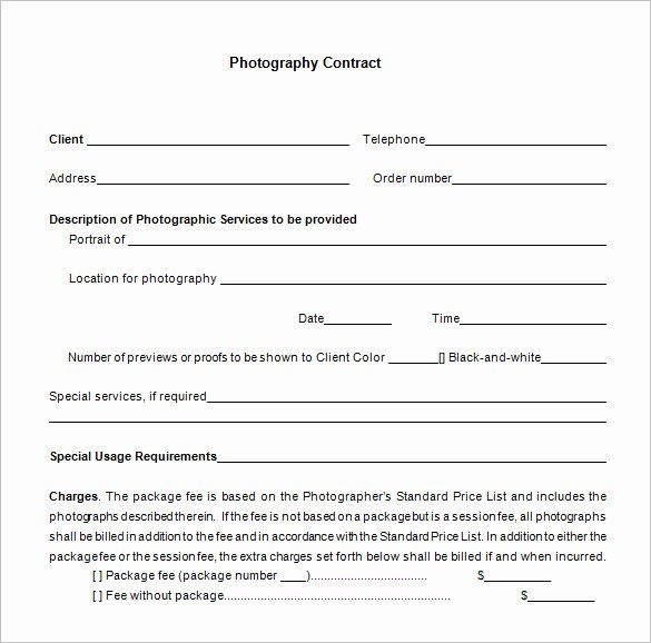 Photography Contract Template Word Best Of 9 Mercial Graphy Contract Templates Free Word