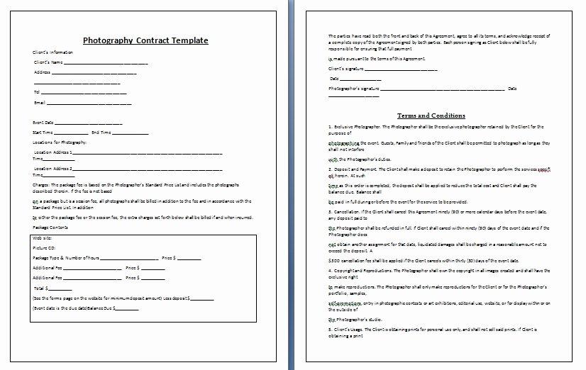 Photography Contract Template Word Best Of Graphy Contract Template