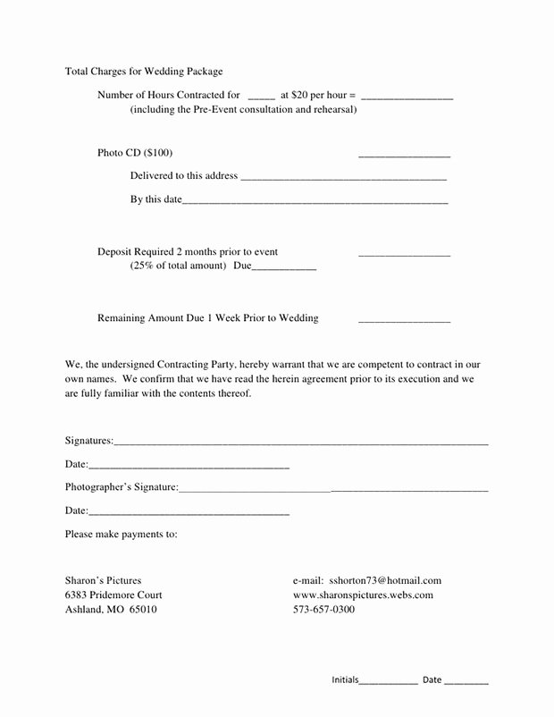 Photography Contract Template Word Elegant 5 Free Wedding Graphy Contract Templates