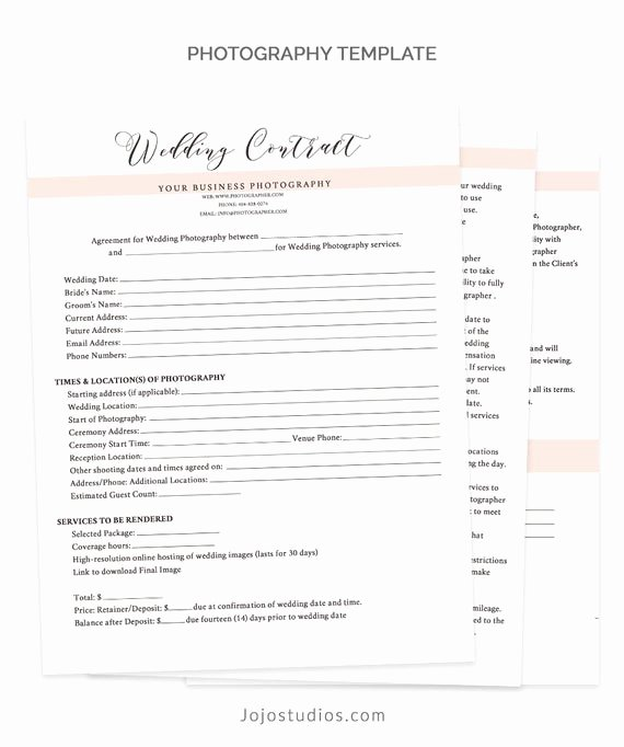 Photography Contract Template Word Elegant Wedding Contract Template Wedding Contract Graphy