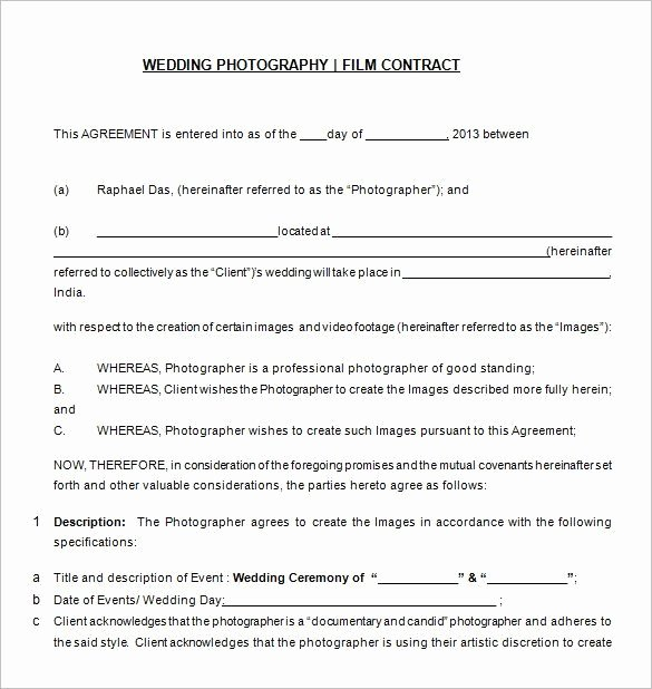 Photography Contract Template Word Fresh Free Download Wedding Graphy Contract Templat 20