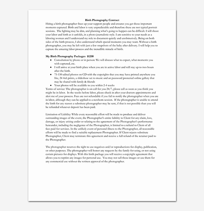 Photography Contract Template Word Fresh Graphy Contract Template 40 Free In Word Pdf