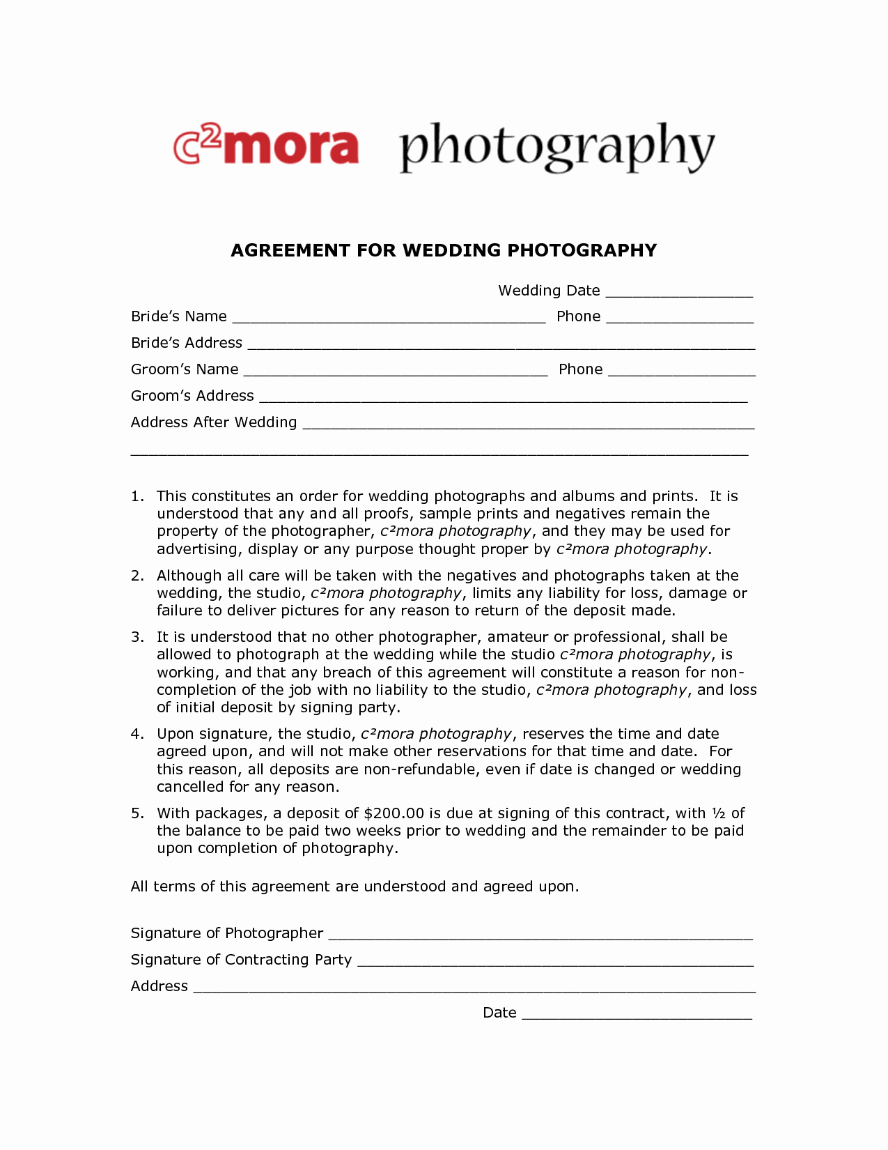 Photography Contract Template Word Fresh Graphy Contract Template Free Printable Documents