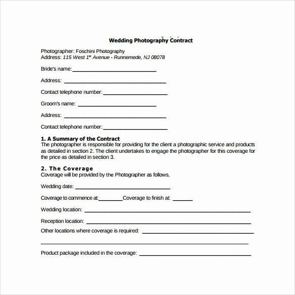 Photography Contract Template Word Lovely 14 Wedding Graphy Contract Template 14 Download