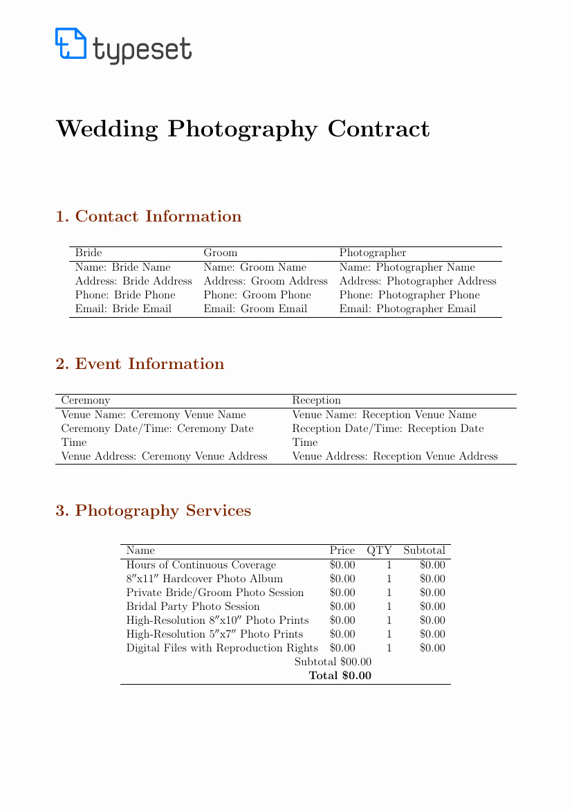 Photography Contract Template Word Lovely Contracts Wedding Graphy Contract Template Template