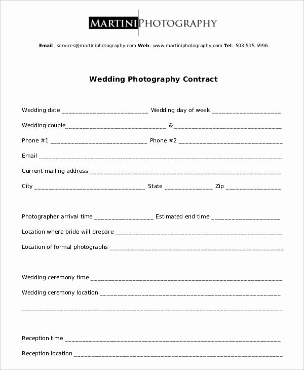 Photography Contract Template Word Lovely Free 11 Wedding Graphy Contract Templates In Pdf