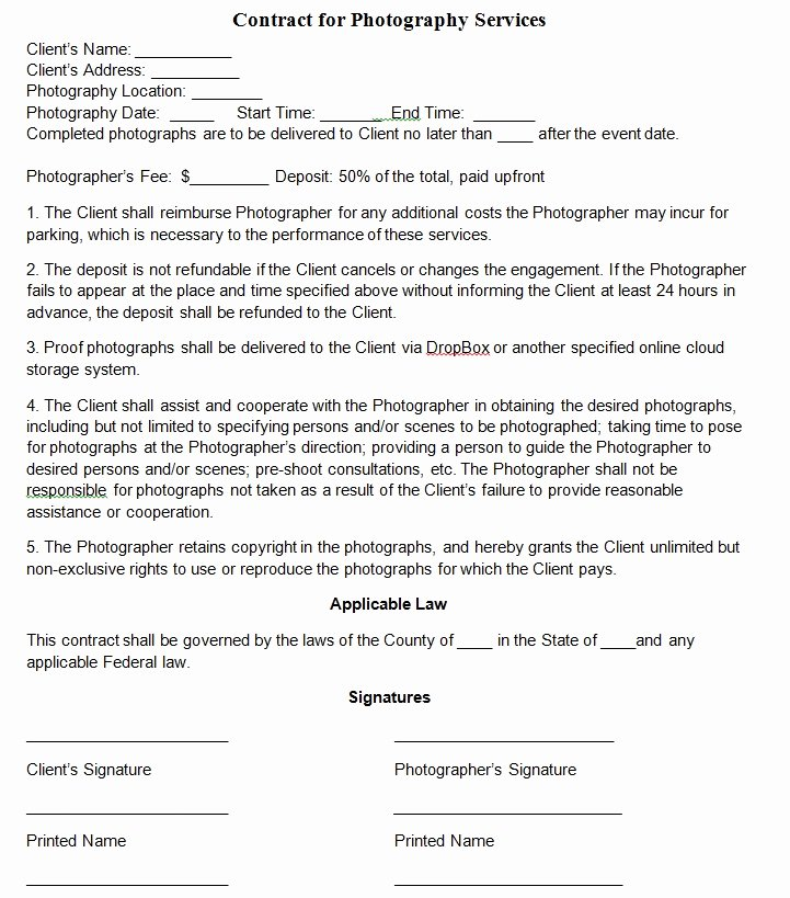 Photography Contract Template Word Lovely Graphy Contract Template