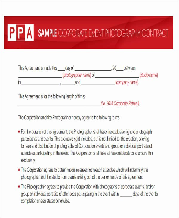 Photography Contract Template Word Luxury 10 Graphy Contract Templates Free Sample Example