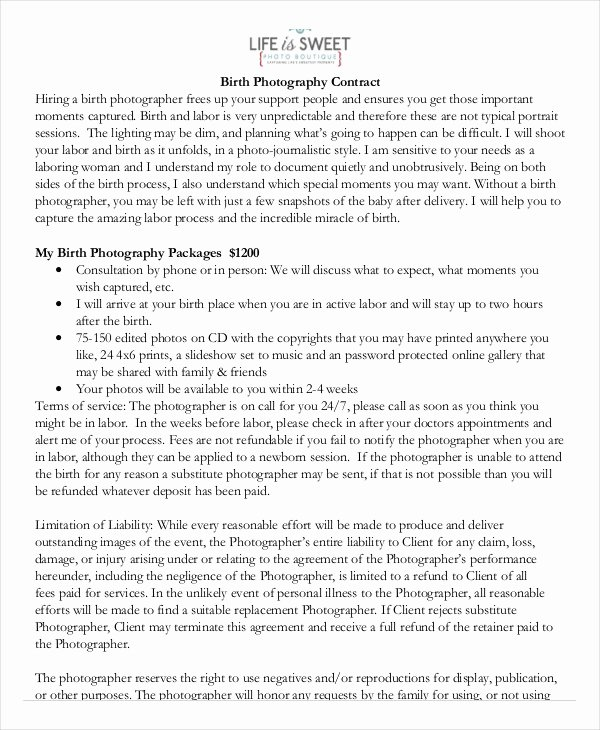 Photography Contract Template Word New Graphy Contract Example 17 Free Word Pdf Documents