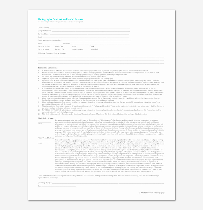 Photography Contract Template Word New Graphy Contract Template 40 Free In Word Pdf