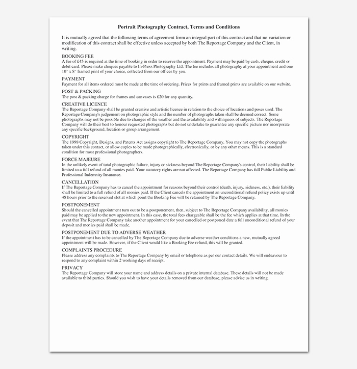 Photography Contract Template Word Unique Graphy Contract Template 40 Free In Word Pdf