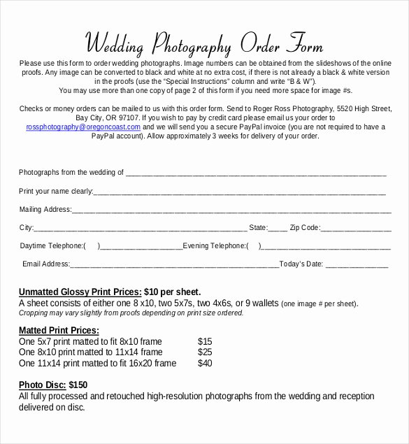 Photography order form Template Awesome 16 Wedding order Templates – Free Sample Example format