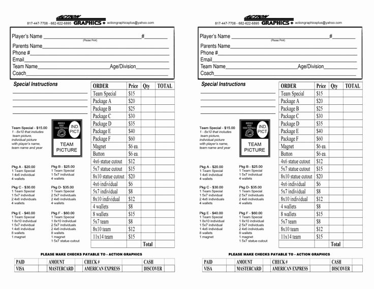 Photography order form Template Beautiful Youth Sports Photography order form